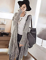 Women's Tassel Solid / Patchwork Gray Cardigan , Casual / Work Long Sleeve