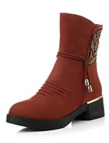 Women's Shoes Fleece Chunky Heel / Fashion Boots / Round Toe Boots Dress / Casual Black / Brown