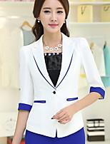 Women's Solid Blue / Red / White / Black Blazer , Work / Plus Sizes Notch Lapel ½ Length Sleeve