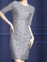Sheath/Column Mother of the Bride Dress - Silver Knee-length Half Sleeve Lace / Polyester