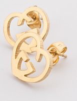 Women's Fashion Elegant Set of Two Gold Plated Stainless Steel Heart Earring