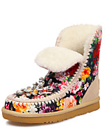 Women's Shoes Leather Platform Snow Boots / Round Toe Boots Dress / Casual Blue / Red