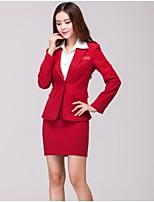 Women's Solid Red Blazer , Work Asymmetrical Long Sleeve