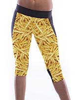 Women's Potato Chips Print Stretch Knee Length Sports Leggings