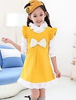 Girl's Blue / Red / Yellow Dress , Bow Cotton Blend Winter / Spring / Fall