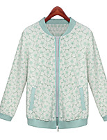 Women's Print Green Jackets , Casual Round Neck Long Sleeve