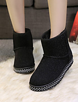 Women's Shoes Low Heel Round Toe Boots Casual Black / Silver