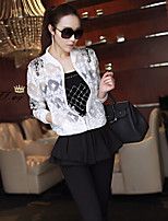 Women's Solid / Lace White Jackets , Casual Round Neck Long Sleeve