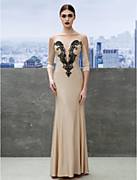 Formal Evening Dress - Champagne Trumpet/Mermaid Bateau Floor-length Jersey