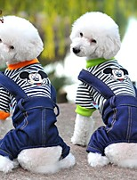 FUN OF PETS® Cute Stripe Design Cartoon Mouse Pattern Overall Jumpsuits for Pets Dogs (Assorted Sizes and Colours)