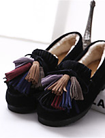 Women's Shoes Suede Low Heel Round Toe Loafers Casual Black / Khaki