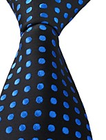 Blue Dots Black Jacquard Men Adult Leisure Silk Necktie Tie