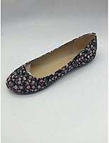 Women's Shoes Cotton Flat Heel Ballerina Flats Office & Career / Dress / Casual Black / Burgundy