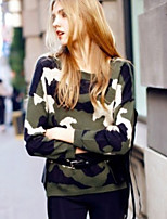 Women's Cool Wind Camouflage Green Pullover , Casual Long Sleeve