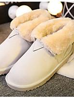 Women's Shoes Suede Flat Heel Round Toe Boots Casual Black / Brown / Beige
