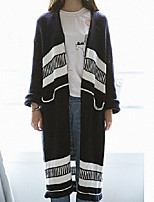 Women's Patchwork White / Black Cardigan , Casual Long Sleeve