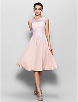 Knee-length Chiffon / Lace Bridesmaid Dress - Pearl Pink A-line Scoop