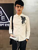 Men's Long Sleeve Shirt , Cotton Casual Print