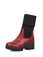 Women's Shoes Chunky Heel Fashion Boots Boots Party & Evening / Dress / Casual Black / Red / Khaki