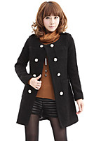 Women's Solid Pink / Black / Yellow Coat , Casual / Work Long Sleeve Tweed / Fur / Polyester