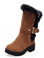 Women's Shoes Suede Chunky Heel Round Toe Boots Casual Black / Brown / Yellow / Red