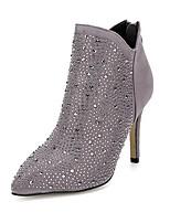 Zapatos de mujer - Tacón Stiletto - Botas Anfibias / Puntiagudos - Botas - Exterior / Casual - Cachemira - Negro / Gris