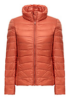 Women's Solid Red / Green / Orange Parka Coat , Casual Stand Long Sleeve