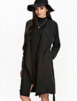 Women's Solid Black / Brown Loose Trench Coat , Casual / Work Long Sleeve