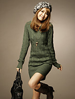 Women's Solid Green / Beige / Gray Dress , Sexy / Bodycon / Casual Long Sleeve