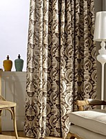 (Two Panel)Country Vintage Leaf Printed Cotton Energy Saving Curtain