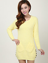 Women's Solid Pink / Red / Black / Yellow / Beige Pullover , Casual Long Sleeve