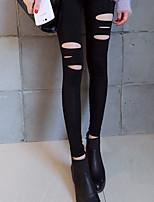 Women Shredded Legging , Cotton Blends Thin