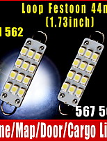 2 PCS 44mm 12-SMD Rigid Loop White Festoon 1.73