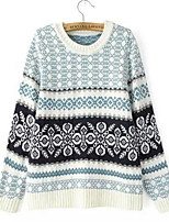 Women's Solid / Jacquard Blue / Almond Pullover , Casual Long Sleeve