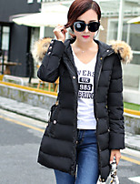 Women's Solid Blue / Pink / Black Parka Coat , Casual Hooded Long Sleeve