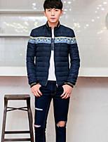 Men's Regular Parka Coat , Nylon Print Long Sleeve