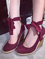Women's Shoes  Wedge Heel Round Toe Heels Casual Black / Blue / Burgundy