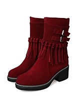 Women's Shoes Leather Chunky Heel Fashion Boots / Round Toe Boots Dress / Casual Black / Red