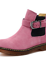Women's Shoes Suede Flat Heel Motorcycle Boots / Combat Boots Boots Outdoor / Athletic / Casual Pink