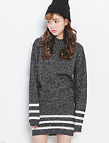 Women's Striped / Solid Black / Yellow / Gray Pullover , Casual / Work Long Sleeve