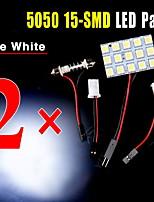 2 X Festoon T10 BA9S White LED 5050 15SMD Panel Car Interior Dome Map Light Lamp