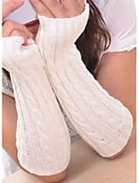 Women Twist Knitwear Fingerless Long Gloves , Casual