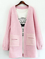 Women's Solid Pink / White / Green / Gray Cardigan , Casual Long Sleeve