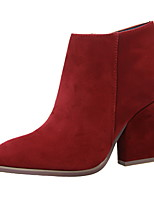 Women's Shoes Suede Chunky Heel Bootie / Pointed Toe / Closed Toe Boots Dress Black / Brown / Red / Beige
