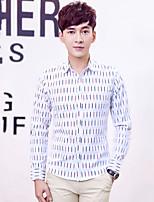 Men's Long Sleeve Slim Lapel Shirt , Fashion Pure Cotton Work / Formal Print