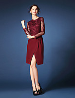 Sheath/Column Mother of the Bride Dress - Burgundy / Dark Navy / Black Knee-length Long Sleeve Lace / Polyester