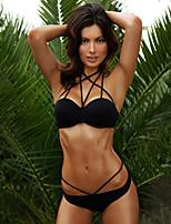 Women's Hin Thin Slim Halter Bikinis , Solid Push-up  Black