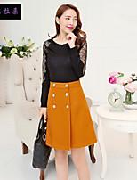 依非拉朵  Women's Solid Red / Black / Orange Skirts , Vintage / Casual / Party / Work Above Knee