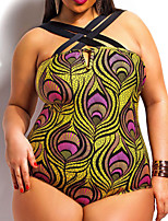 Women's Halter One-pieces , High Rise / Floral Wireless Nylon / Spandex Yellow