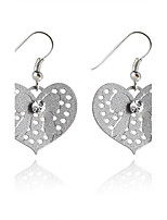 Korean Fashion Drill Peach Heart Alloy Drop Earrings